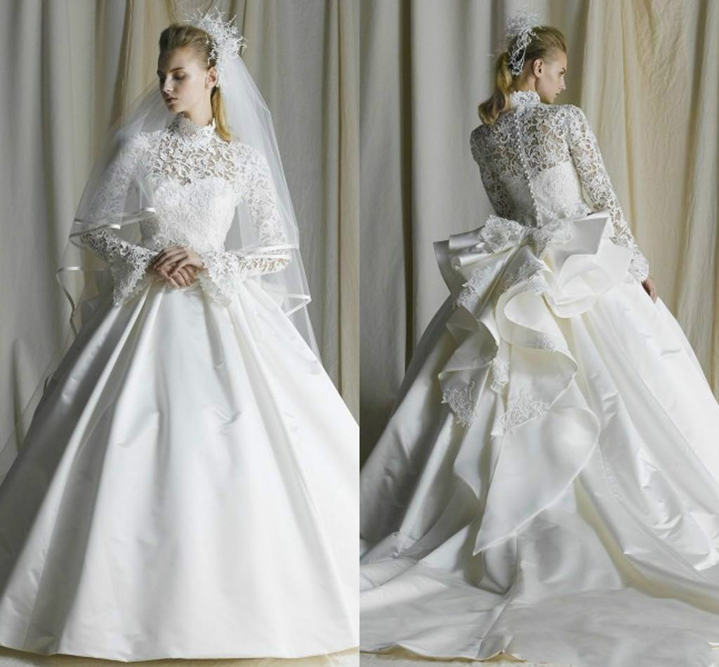 Ruching Wedding Gowns: Vintage Lace High Neck Wedding Dresses Long Satin A Line