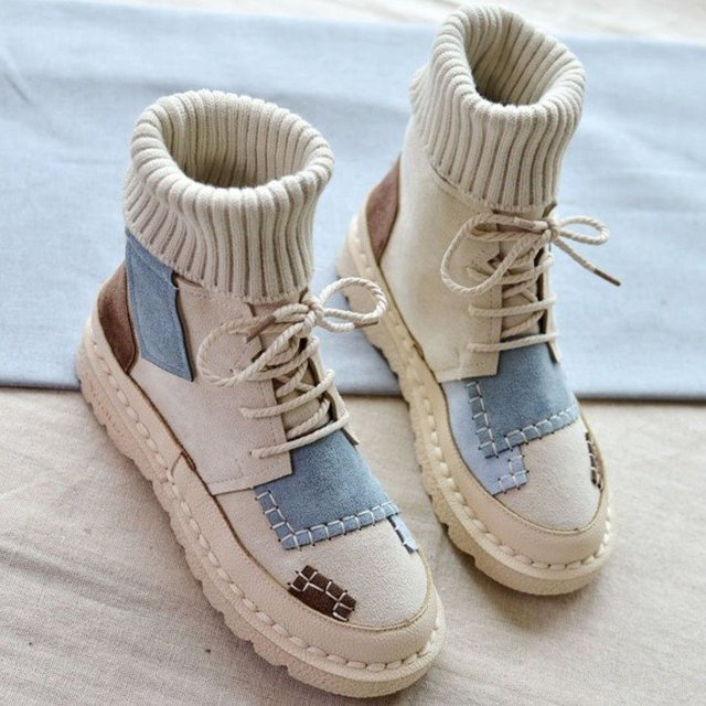 Autumn and winter explosions suede canvas color matching wild high-top Wool mouthboots  women shoes