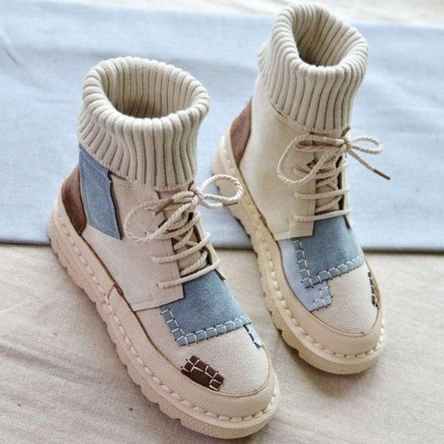 Mùa thu và mùa đông nổ da lộn vải màu sắc phù hợp hoang dã cao-top Len mouthboots phụ nữ giày