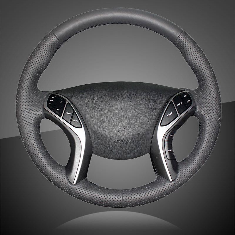 MEWANT Hand Sewing Black Artificial Leather Steering Wheel Cover Wrap for Elantra 3 Elantra Sport 2011 2012 2013 2014 2015 2016 Elantra GT 2013 2014 2015 2016 2017 Elantra Coupe 2013 2014 Avante 2011 i30 2012 2013 2014 2015 2016 2017