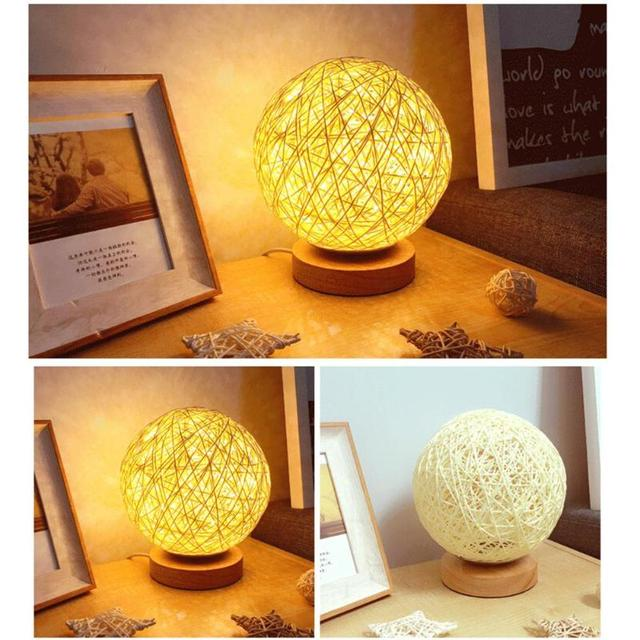 Creative LED Rattan Ball Night Light USB Bedroom Table Lamp Home Ornaments for Weeding Party Holiday Decoration