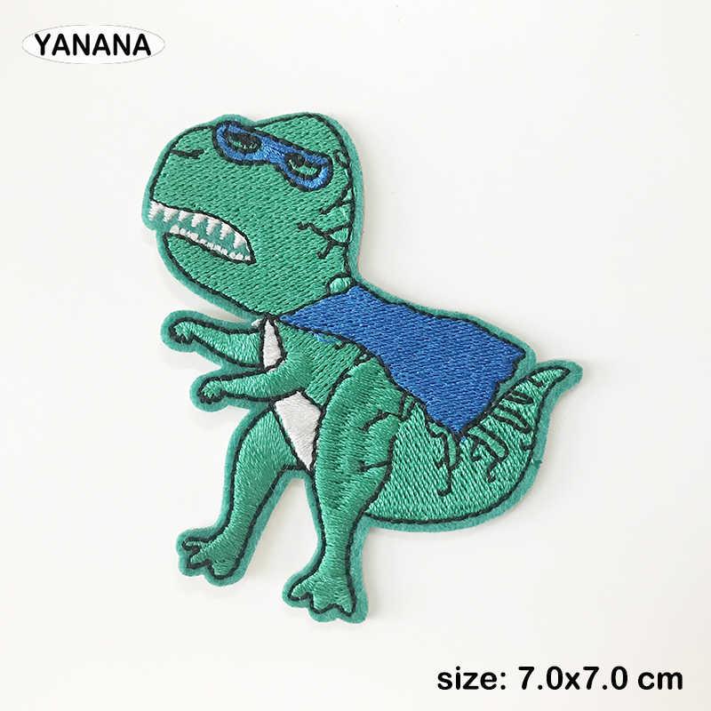 Del fumetto del Fungo Dinosauro Ferro Su Toppe e Stemmi Cucito Ricamato Applique per il Rivestimento Vestiti Adesivi Distintivo FAI DA TE Accessori di Abbigliamento