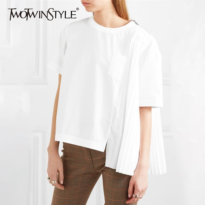TWOTWINSTYLE Casual Solid Asymmetrical Women T Shirt O Neck Short Sleeve Pleated Tops Female Fashion Clothes Spring 2019 New