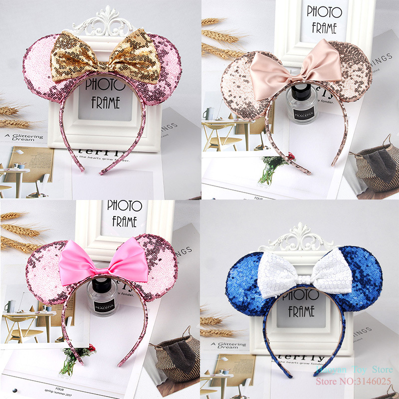 Disney Mickey Minnie Ears Kids Cartoon Headwear Hair Hand Accessories Kawaii Plush Toys Birthday Gift For Girls Fashion Cute Toy awaytr korean hairband for women girls cute headband cat ears hair hoops with sequins hair accessories party birthday headwear