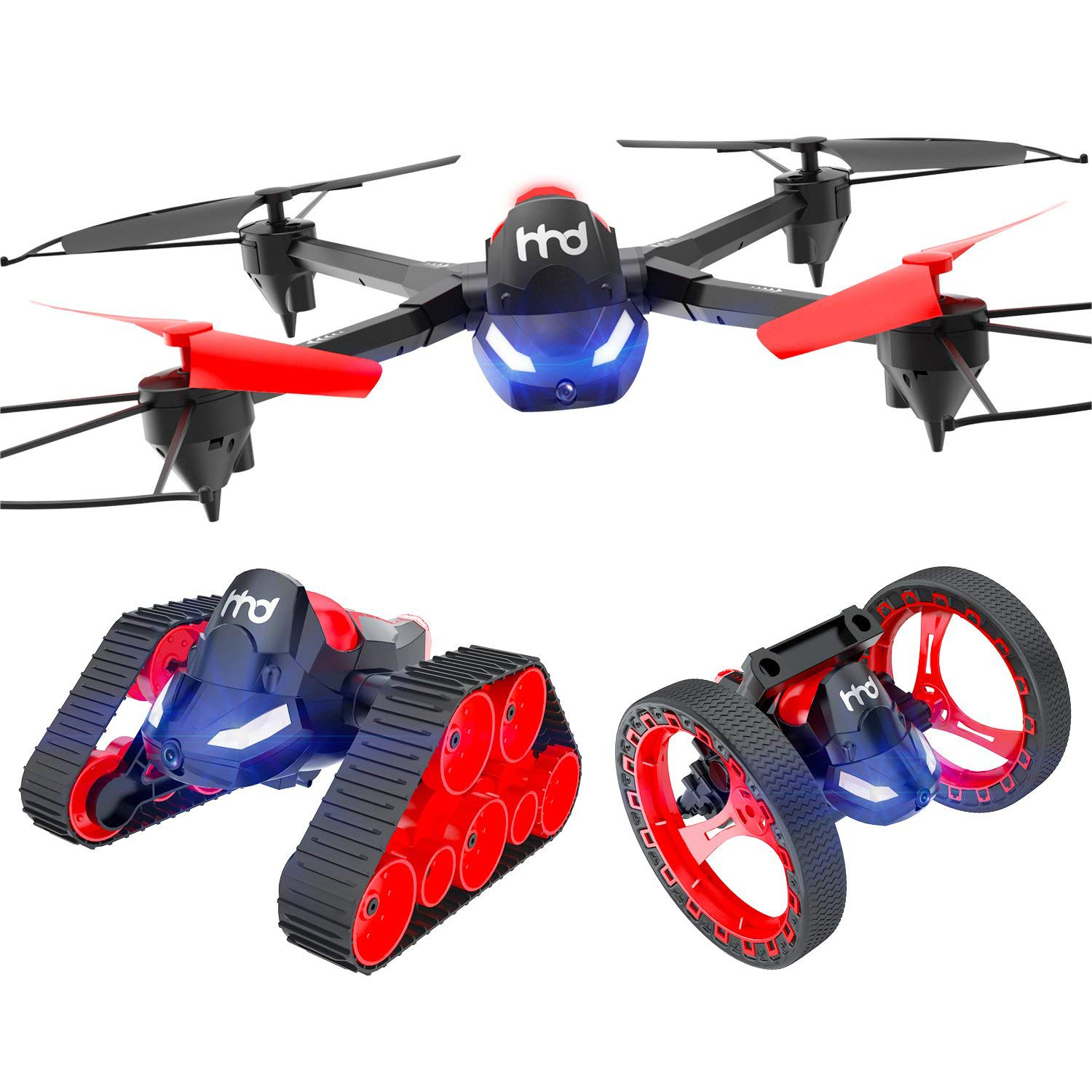 Three-in-one Mobile Phone WIFI Remote Control Aircraft Tank Bouncing Drone Four-axle Aircraft Model Helicopter Toy,Black 2018 new helicopter x5c aircraft four axes drone aircraft wifi real time remote control shipping from russia
