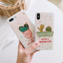 XINDIMAN 2019 Rhinestone Cactus case for iphone backcover 8 8plus 7 7plus silicone IMD 6 cover 6s 6plus X