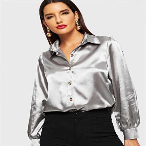 d877fbd7e72 Fashion Women's Ladies V-Neck Shirts Long Sleeve Loose Blouse Casual Shirt  Silver Summer Satin