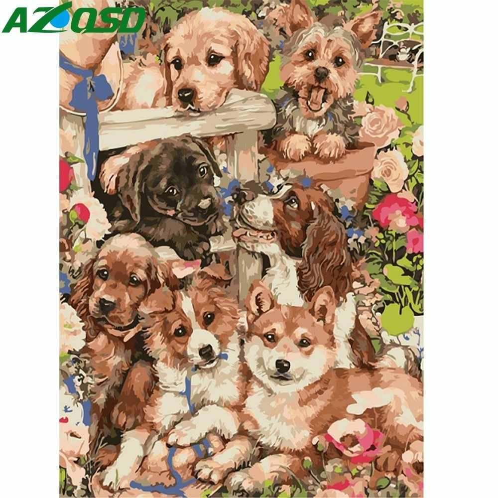 AZQSD Oil Painting By Numbers Dog Picture Painting Animal DIY Canvas Oil Painting Wall Art Unique Gift Home Decoration SZYH6199