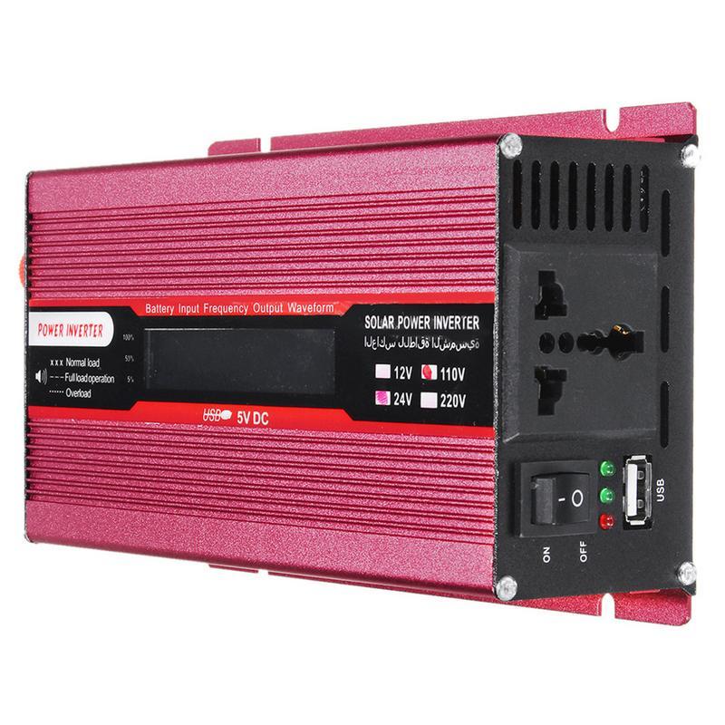 4000 W/5000 W solaire voiture onduleur LED DC12/24 V à AC110/220 V convertisseur à onde sinusoïdale 4.8A 4 Interfaces USB