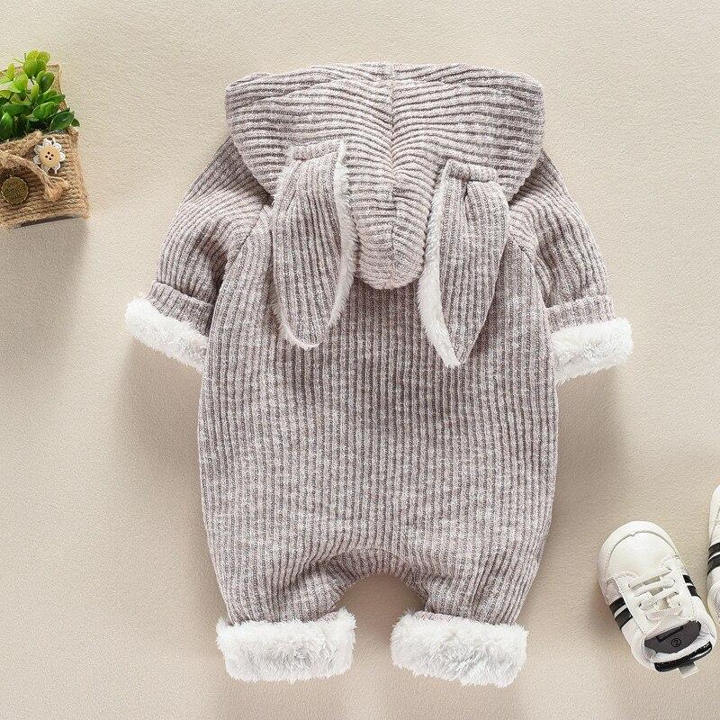Newborn Infant Boys Girls Romper Cute Rabbit Hooded Jumpsuit Outfits Clothes Set