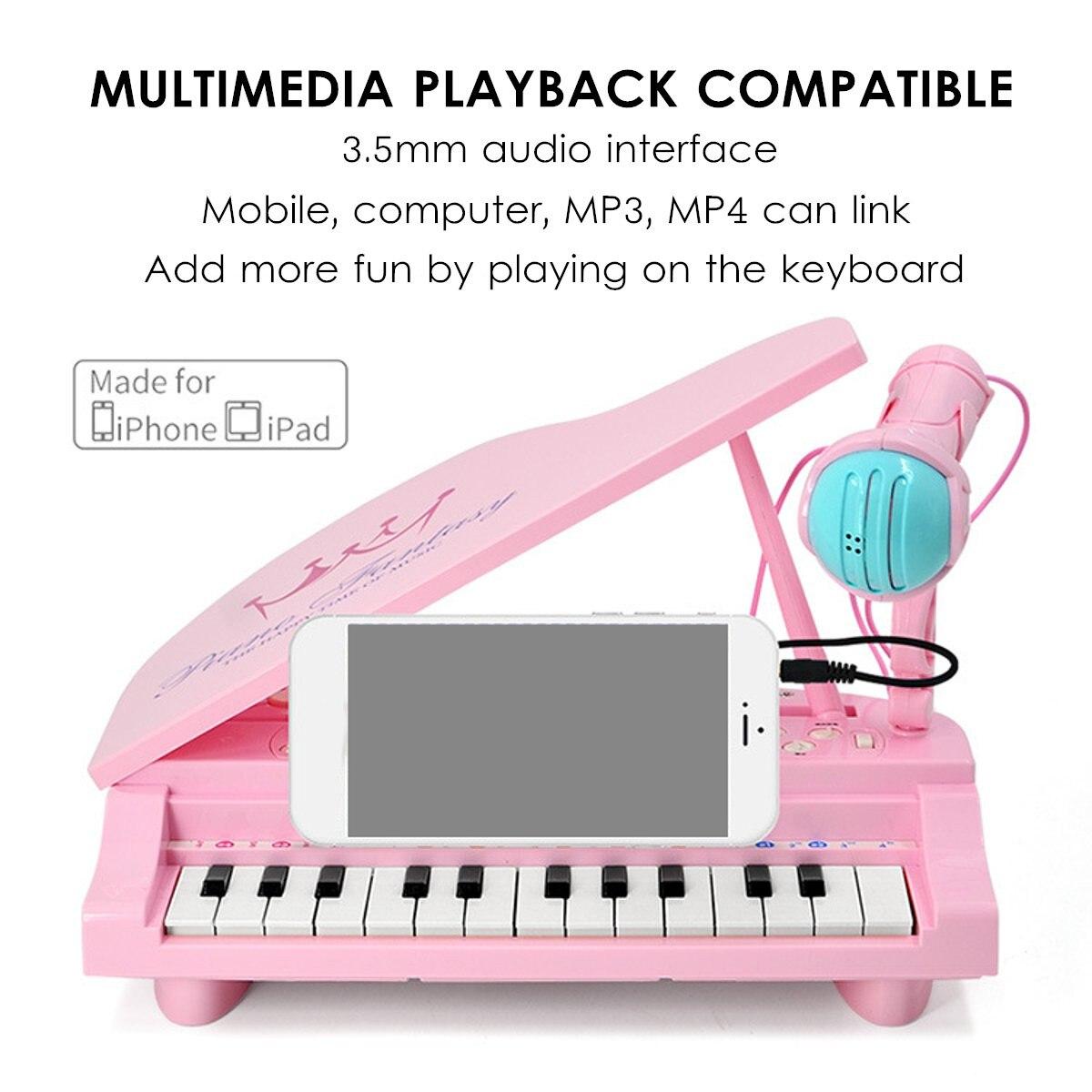 Électronique 25 touches clavier jouet orgue USB enfants Piano Microphone Instrument de musique jouant jouet ensemble rose/bleu enfants cadeaux - 2