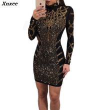 Fashion Rhinestone Diamonds Embellished Slim Bodycon Dress Women Turtleneck Long Sleeve Perspective Party Nightclub Mini