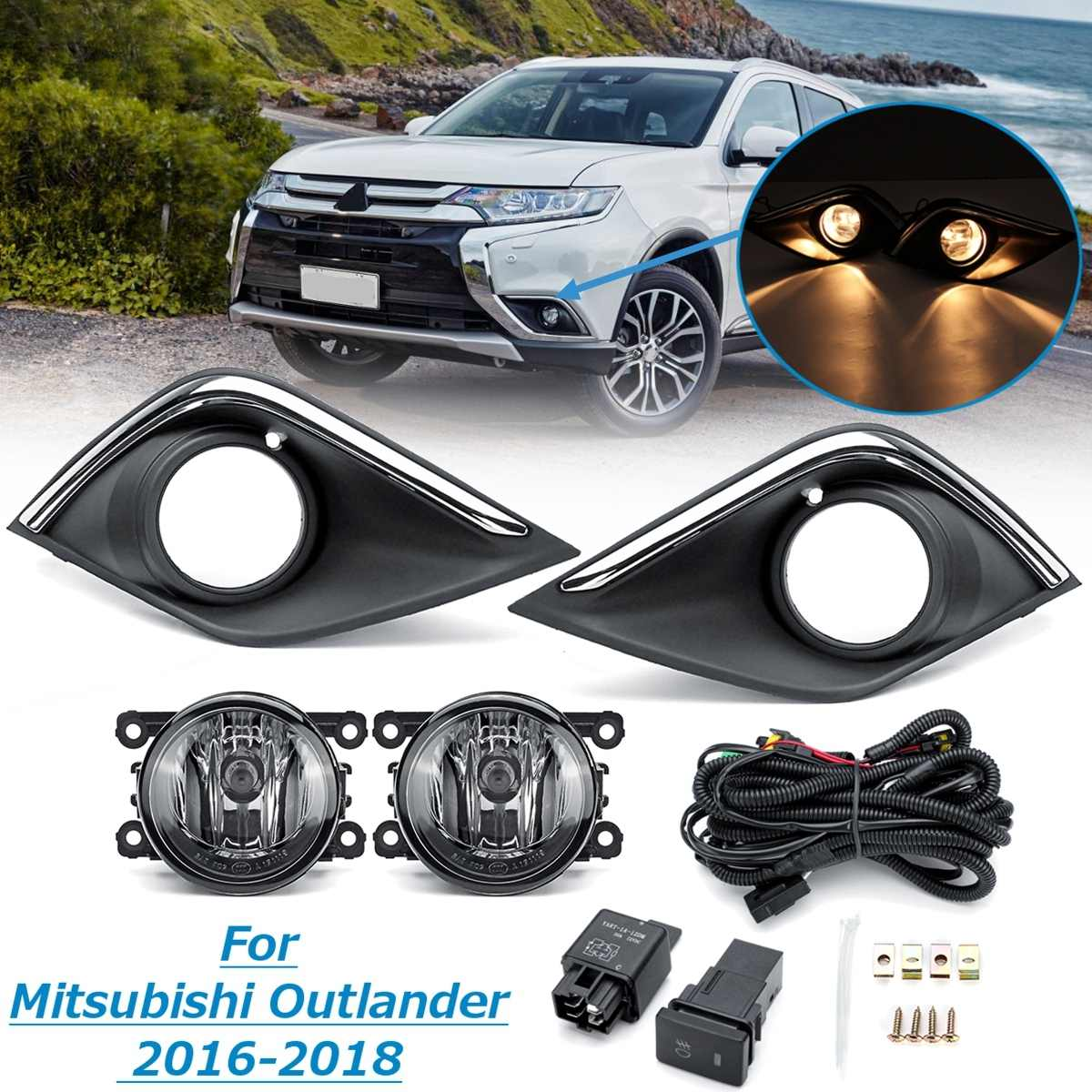 For Mitsubishi Outlander 2016 2017 2018 1 Pair Car Bumper Fog light Lamp With Cover Grill Harness Kit Daytime Light StylingFor Mitsubishi Outlander 2016 2017 2018 1 Pair Car Bumper Fog light Lamp With Cover Grill Harness Kit Daytime Light Styling