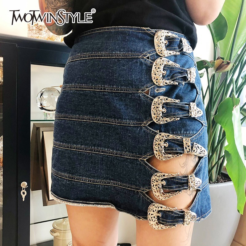 TWOTWINSTYLE Denim Short Skirts Female High Waist Hollow Out Buttons Mini Women's Skirt Casual Fashion Clothes 2020 Spring