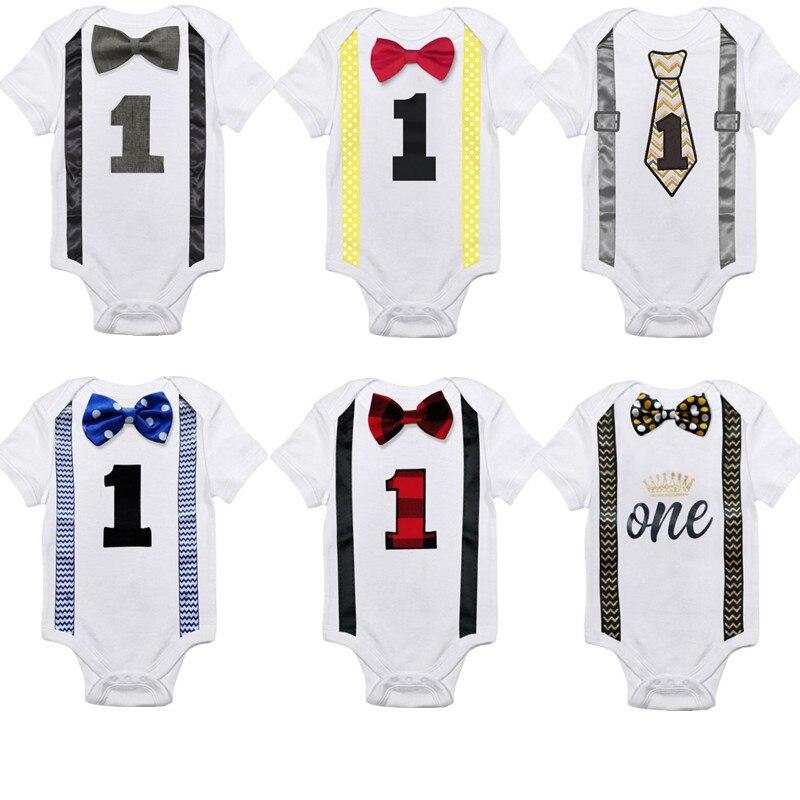 Newborn Baby Boy Gentleman Bowknot Short Sleeve 1 Birthday Bodysuit Jumpsuit Outfits Clothes 0-1Y