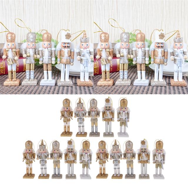 15 sztuk 12cm drewniany dziadek do orzechów żołnierz Model figurki lalek lalki rzemieślnicze dla dzieci prezenty boże narodzenie dekoracje do domowego biura wyświetlacz