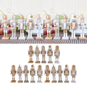 Image 1 - 15Pcs 12cm Wooden Nutcracker Solider Figure Model Puppet Doll Handcraft for Children Gifts Christmas Home Office Decor Display