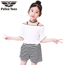 2019 New Summer Casual Children Sets whiteT-shirt+ Pants Girls Clothing Kids Suit For 3-7 Years