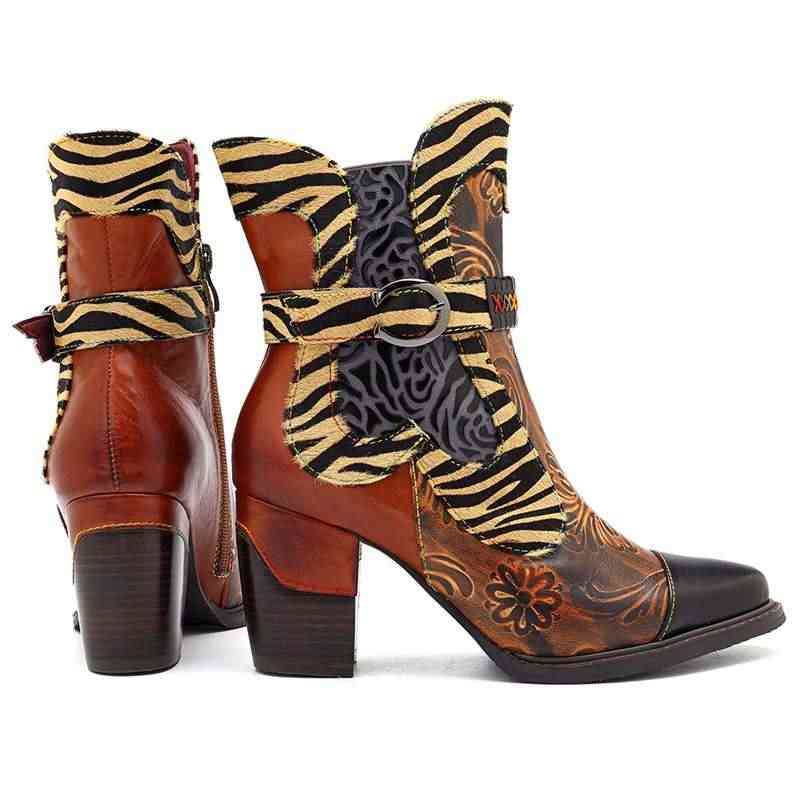 Socofy Retro พิมพ์ Cowgirl ข้อเท้ารองเท้าผู้หญิง Winter Patchwork ขนม้าแท้รองเท้าหนังผู้หญิงรองเท้าผู้หญิงซิป Booties