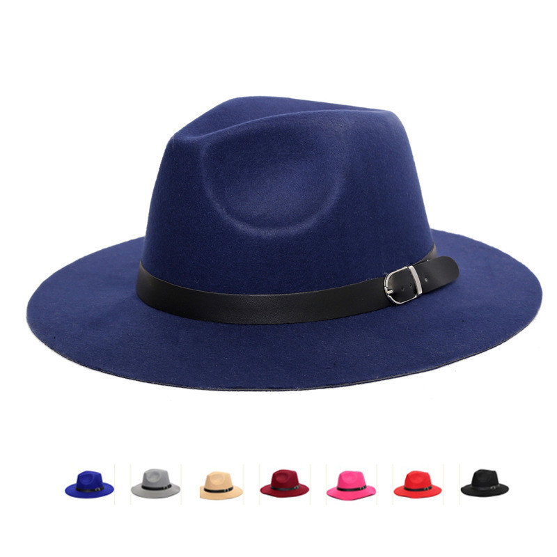 8568e4d8f Hot Promo] Women Men Wool Fedora Hat With Leather Ribbon Gentleman ...