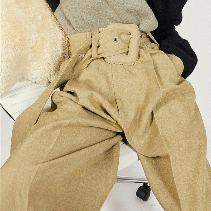 Fasce Donne 2018 Per A Moda khaki Inverno Pantaloni Gray Alta Twotwinstyle Vita Con Donna Grigio Di Le E Fiocchi Autunno Casual Coreano Lungo Lana A4jL35R