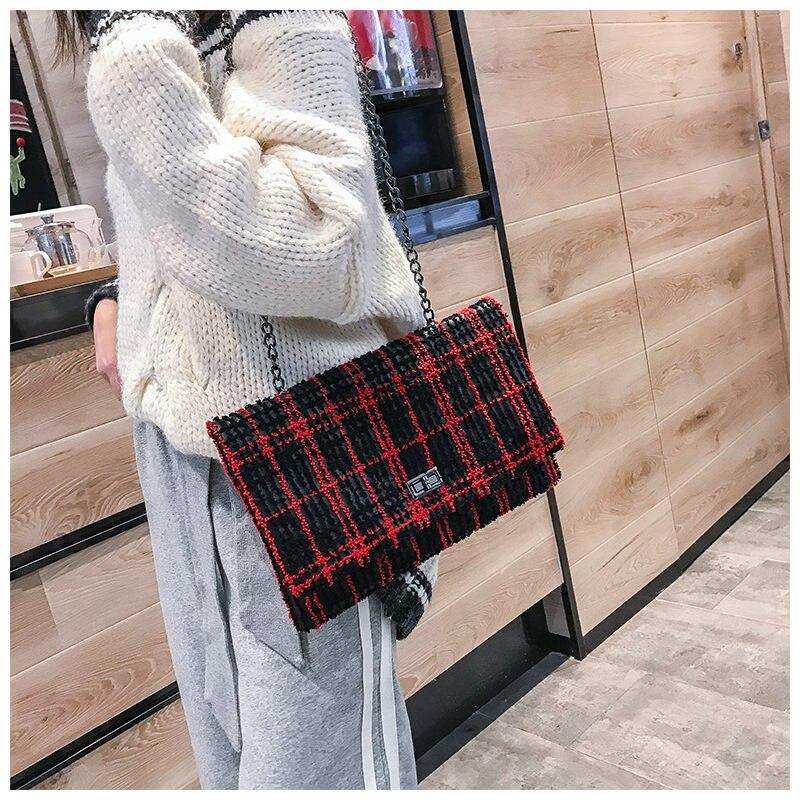 New Women Handbags Clutch Shoulder Bags Fashion Plaid PU Leather Women Envelope Evening Bag Female Crossbody Clutch Purse Bags
