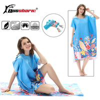 Outdoor Adult Beach Towels Quick Drying Hooded Changing Robe Sunscreen Cloak Bath Towel Poncho Microfiber Surf Swimsuit Cloak