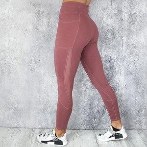 Image 3 - Leggings de Yoga à poches pour femmes, pantalon de Sport en maille, pantalon solide à poches, pantalon de Fitness, course et entraînement