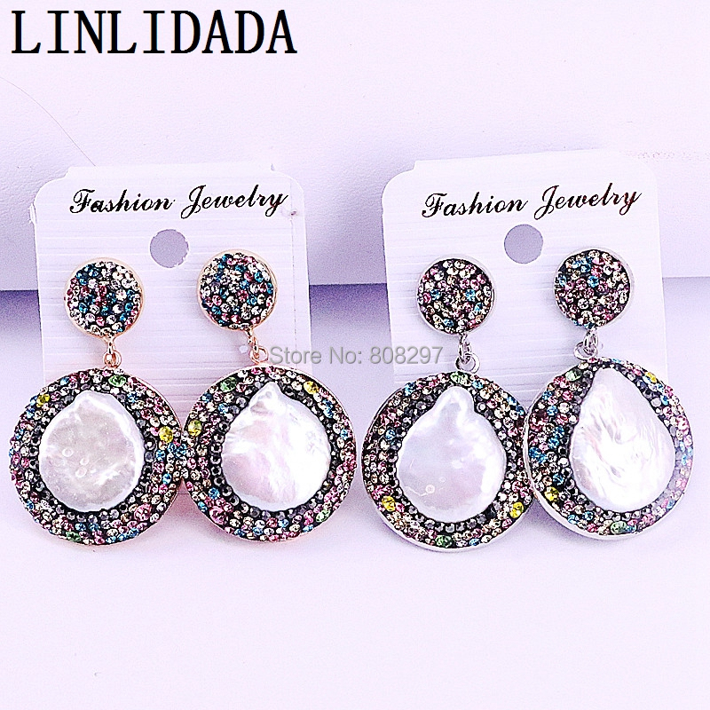 5Pairs Fashion Jewelry Colourful Rhinestone Paved Round Shape Pearl Shell Charm Dangle Earrings For Women