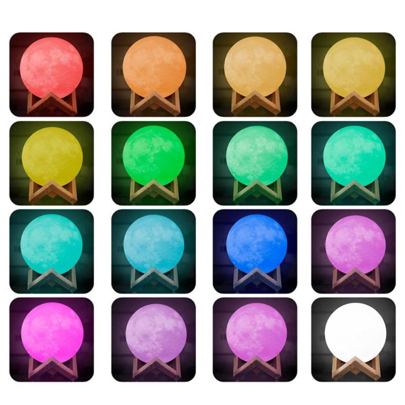 New 16 colors 3D Moon Light Print Moon Globe Lamp Glowing Moon Lamp With Stand Luna Night Light for Home Bedroom Decor Child