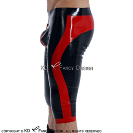 Black With Red Sexy Long Leg Latex Boxer Shorts With Red Zipper At Front And Trims Underwear Rubber Boy Shorts Bottoms DK-0174 handmade sleeveless latex one piece dress exotic a line rubber skirt with front zipper