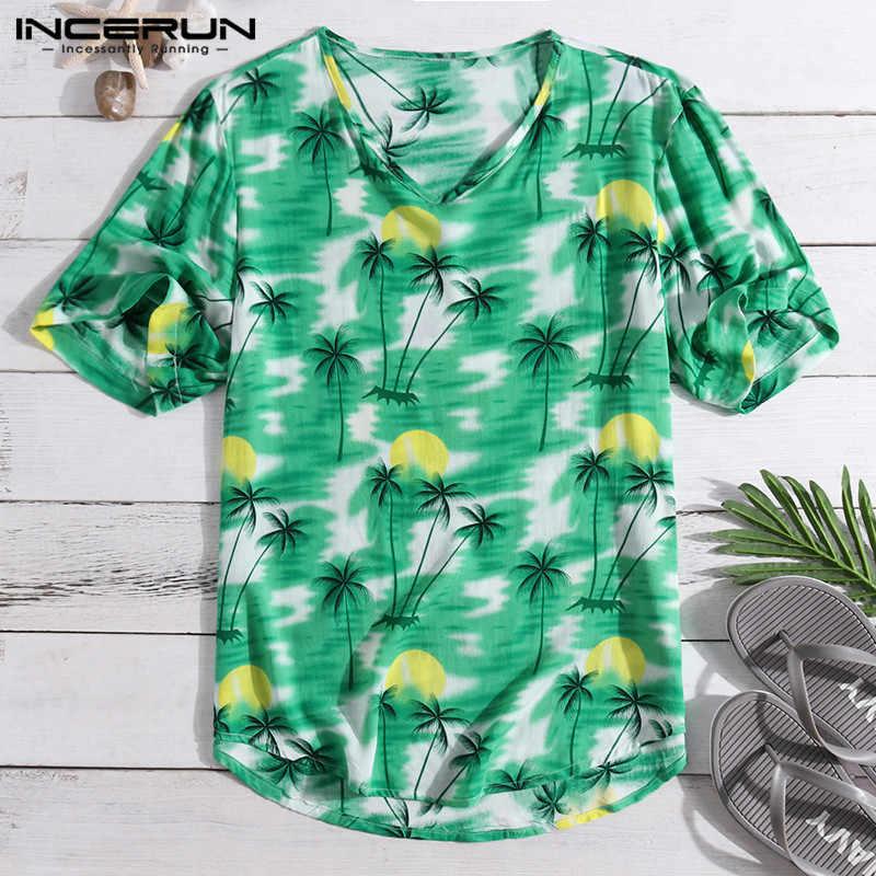 INCERUN летняя новая пляжная Гавайская футболка с принтом Мужская с v-образным вырезом и коротким рукавом Праздничная Свободная Повседневная футболка Топы Мужская футболка Camisetas 2019
