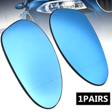 Mayitr 1Pair Door Mirror Glass Heated Blue Tinted Wing Glasses For BMW E82 E90 E91 E92 E46