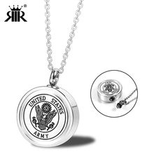 RIR Silver Cremation Urn Jewelry for Ashes Human Pendant Necklace Keepsake USMC ARMY NAVY AIR FORCE Soldier Charm Necklaces(China)