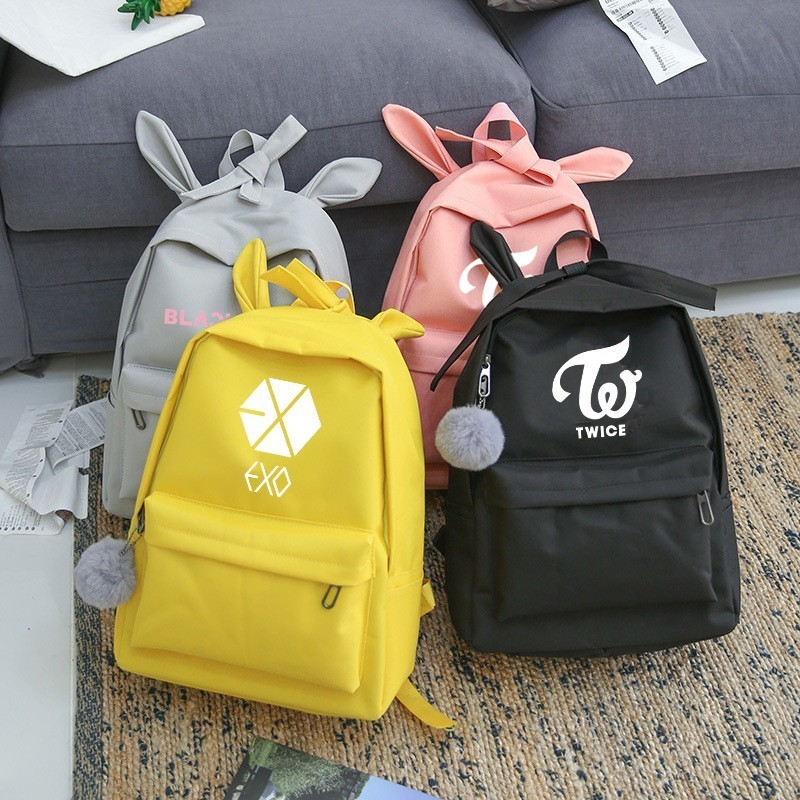 Newest Lovely Exo Got7 Backpack Women Wanna One Blackpink Monsta X Twice Canvas School Travel Bag Backpack Sac A Dos Femme