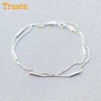 Trusta 100% 925 argent Sterling mode bijoux pour femmes Double couche bâton bracelets de cheville 22 cm pour femme meilleur ami livraison directe DS776