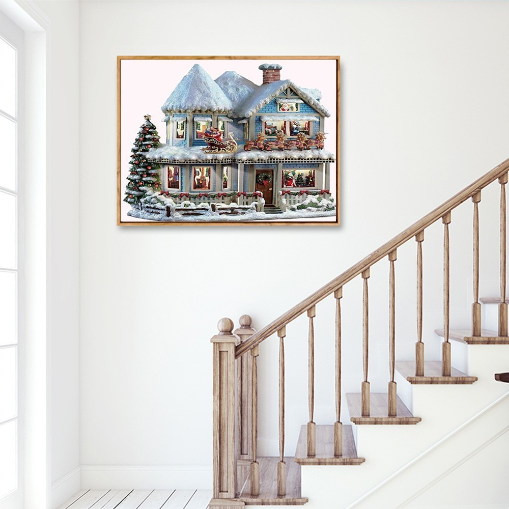 Huacan 5D DIY Diamond Painting Winter Diamond Mosaic Full Square Christmas Landscape Picture Of Rhinestone Mosaic Paintings in Diamond Painting Cross Stitch from Home Garden
