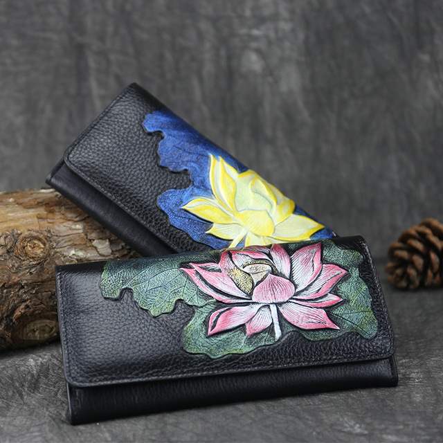 High Quality Genuine Leather Women Clutch Purse Multi-Cards Cash Holder Lotus Pattern Vintage Real Cowhide Money Long Wallets
