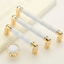 European Style Gold And White Furniture Knobs Cabinet Handles Elegant Wardrobe Handles Drawer Pulls elegant and delicate home furniture bedroom mirrored bedside table classic design cabinet with one drawer
