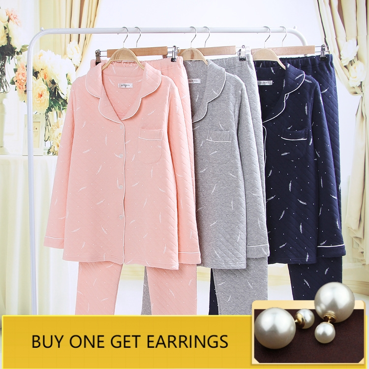 QWEEK Autumn Winter Women   Pajamas     Sets   Cotton Women Sleepwear Couples Long Sleeve Pyjama Femme Warm Thick Soft Women Homewear