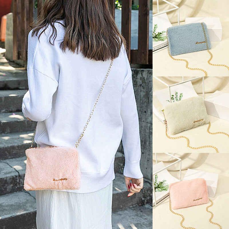 Для женщин леди Сумка Хобо сумочка Наплечная Сумка Плюшевые Сумка кошелек сумка-баул Новый девушку сумка Плюшевые Зимние сумка