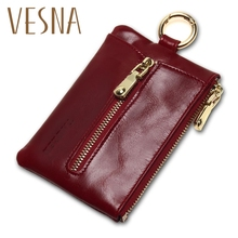 Vesna TAUREN Women Genuine Leather Oil Wax Zip Wallet Coin Key Holder Case Bag Fashion Chain Charms High Quality