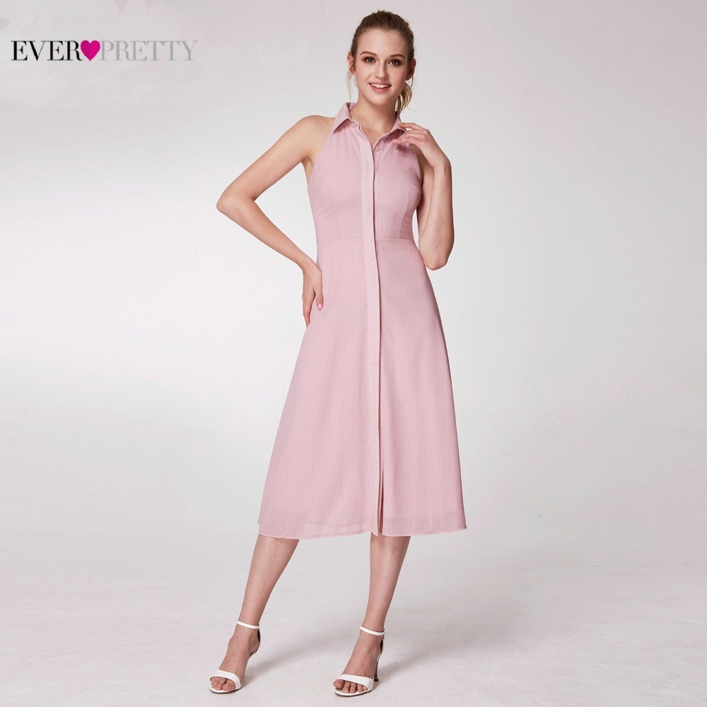 Image 2 - Pink Elegant Cocktail Dresses Ever Pretty AS07196PK A Line High Neck Casual Women Short Summer Party Dresses Robe Cocktail 2019-in Cocktail Dresses from Weddings & Events