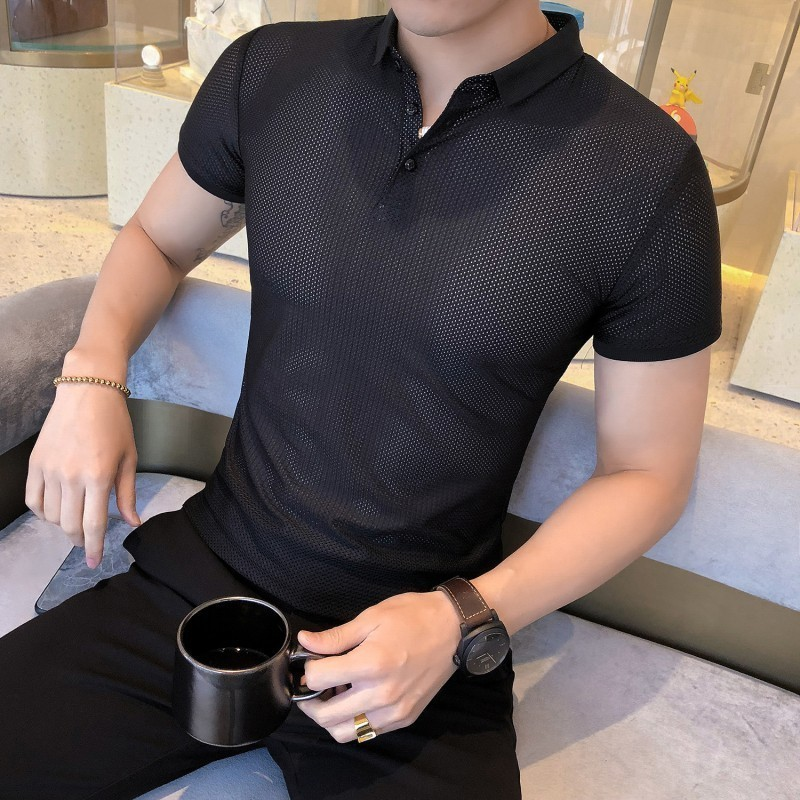 2019 Man   Polo   Shirts Solid Color Short Sleeve Slim Breathable   Polos   Para Hombre Mens   Polos   Shirts Male Tops XXXL   Polo   Homme