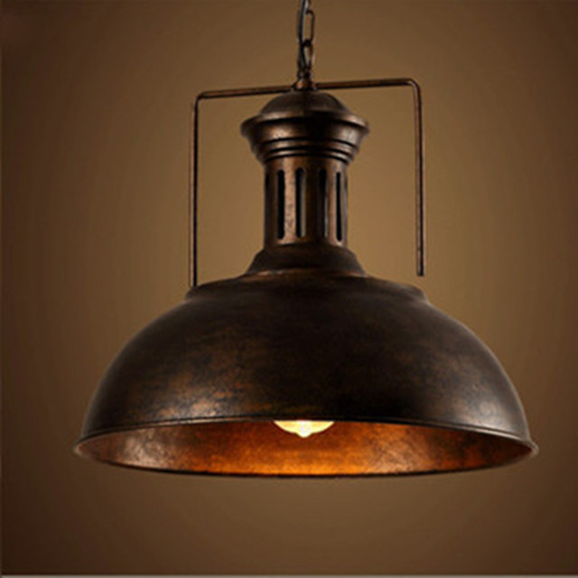 Nordic Black Rust Industrial Pendant Light Fixture E27 Holder Loft Hanging Iron Lamp shade Home Attic Suspension Luminaire