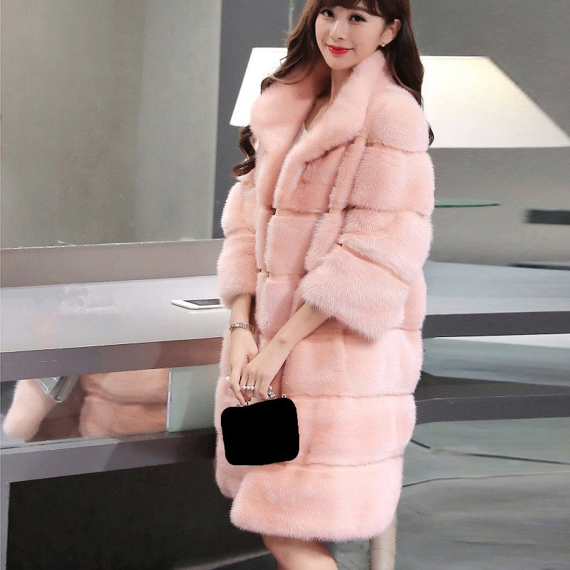 Élégant Femmes rose blanc Imité Manteaux Col gris Solide Fourrure bleu Capuche Noir Montant 2018 Survêtement Lâche Vison Avec Hiver Chaud De Longs SRqSwf0B