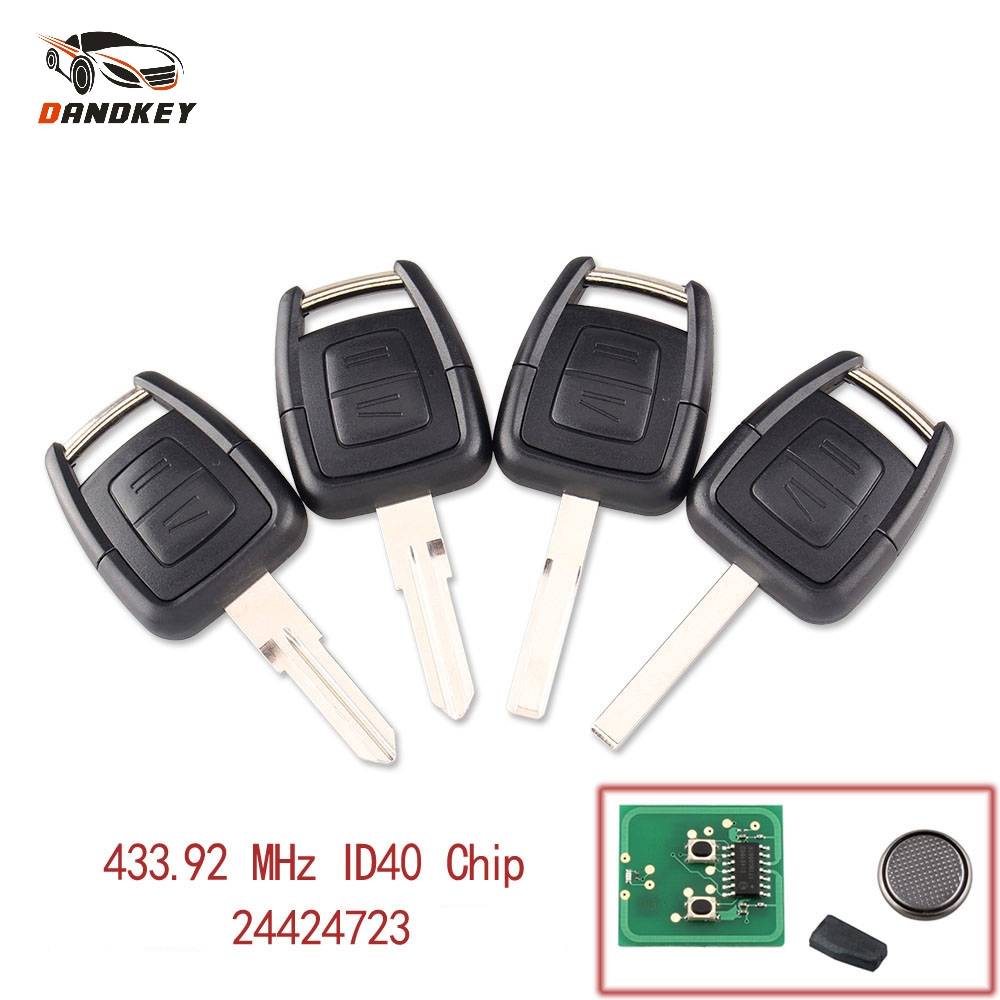 Dandkey 2 Buttons 433Mhz Fob Remote Key For Opel Vauxhall Vectra Zafira OP1 24424723 With ID40 Chip HU43 HU100 YM28 HU46 Blade