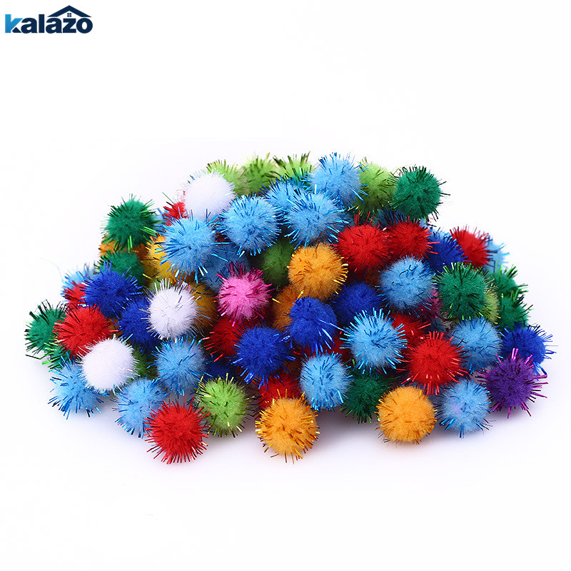 100pcs 15mm Chenille Stems Bendaroos Christmas Plush Ball Pompom Hair Root DIY Craft Supplies Kids Toys Home Party Deorations