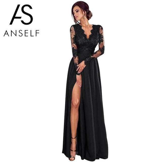 Sexy Women Lace Maxi Dress Deep V Neck Long Sleeve Black Party