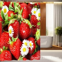3D Strawberry printed waterproof shower curtain unique shower curtains cool shower curtain for bathroom